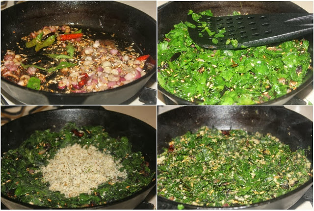 Drumstick Leaves Stir fry Steps