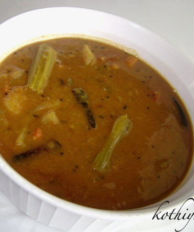 Varutharacha Sambar Recipe – Sambar with Roasted Coconut and Spices