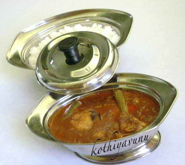 Varutharacha Meen Muringakka Pacha Manga Curry /Fish with Raw Mango & Drumstick in Roasted Coconut Gravy