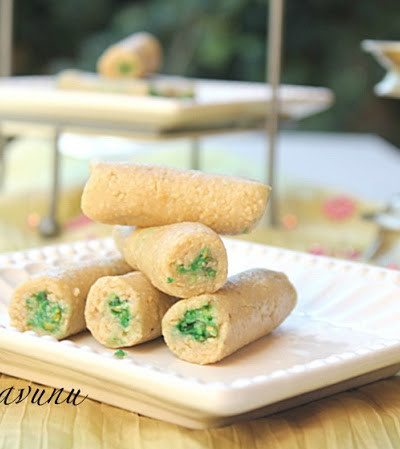 Kaju Pista Roll – Cashewnut Roll Stuffed with Pistachio Powder & Happy Diwali