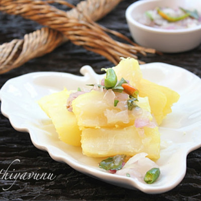 Kappa Puzhungiyathu with Kanthari Mulaku Chammanthi | Boiled Tapioca -Yuca – Cassava with Hot Green Chilly Dip