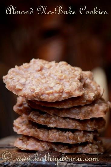 Almond No-Bake Cookies - Vegan Recipe |kothiyavunu.com