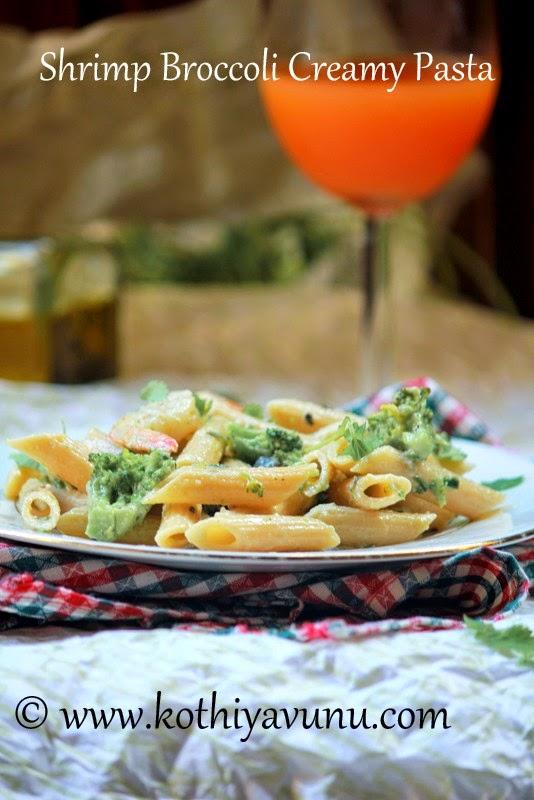 Shrimp Broccoli Creamy Penne Pasta  kothiyavunu.com
