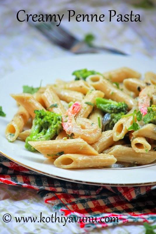 Shrimp Broccoli Creamy Penna Pasta |kothiyavunu.com