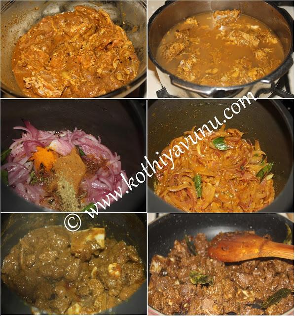 Kerala Mutton Roast - Nadan Erachi Ularthiyathu Steps  kothiyavunu.com